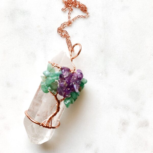 Clear Quartz Pendant with Tree of Life