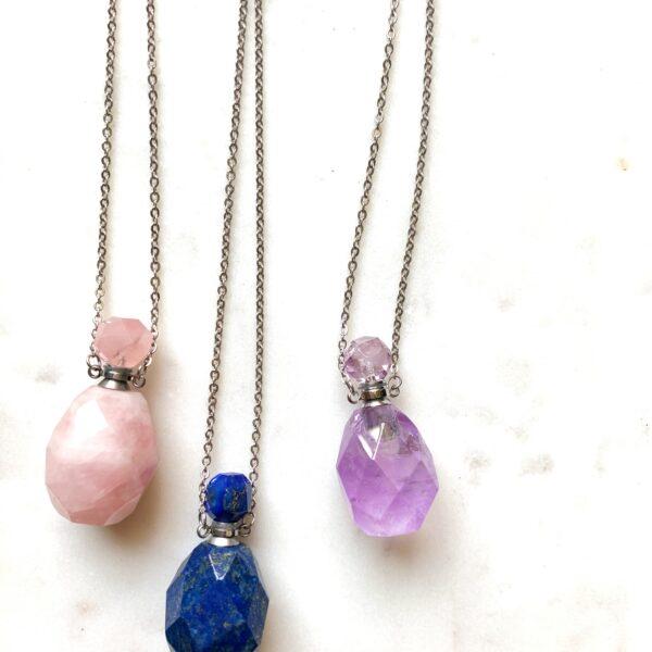 Amethyst Gemstone Perfume/Oil Pendant