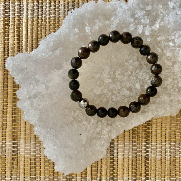 Bronzite + Obsidian healing bracelet