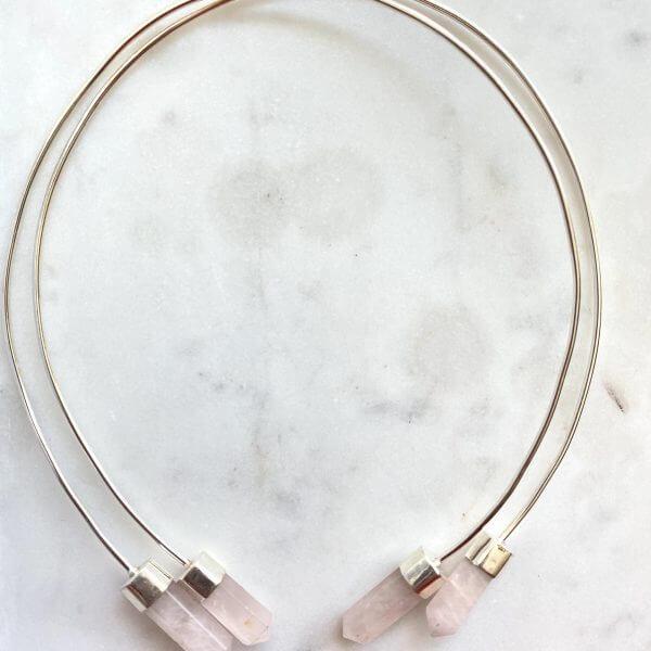 Collar Necklace : Rose Quartz